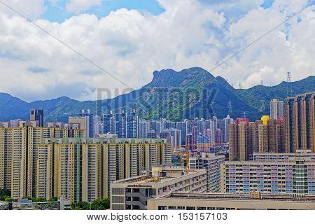 hong kong public estate buildings with landmark lion rock