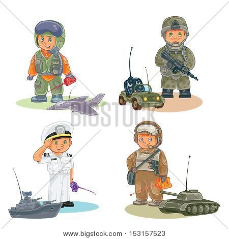 Set of vector icons of small children airman, soldier, sailor and tanker