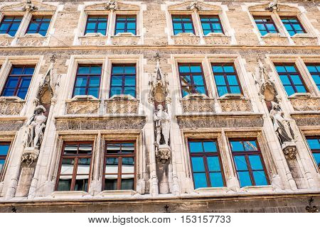 Close-up view on the beautiful facade of the town hall in Munich