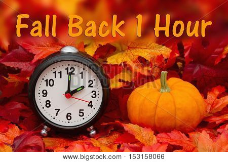 Daylight Savings Time message Some fall leaves and retro alarm clock and pumpkin with text Fall Back 1 Hour