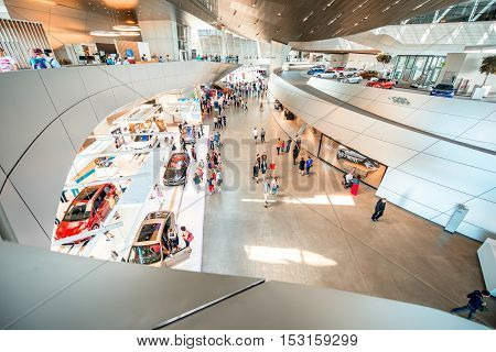 Munich, Germany - July 03, 2016: Interior of the BMW world building in Munich. BMW World is a multi-use exhibition center used for promotional events, and where buyers take BMW vehicles
