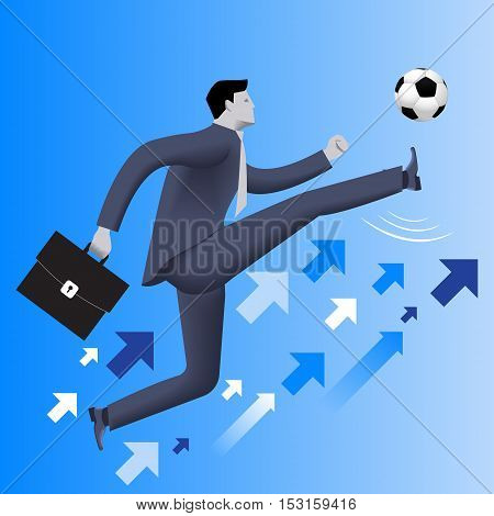 Put the ball in the game business concept. Confident businessman in business suit with case kicks soccer ball up to the sky. Concept of starting new business. startup or contract. Vector illustration.