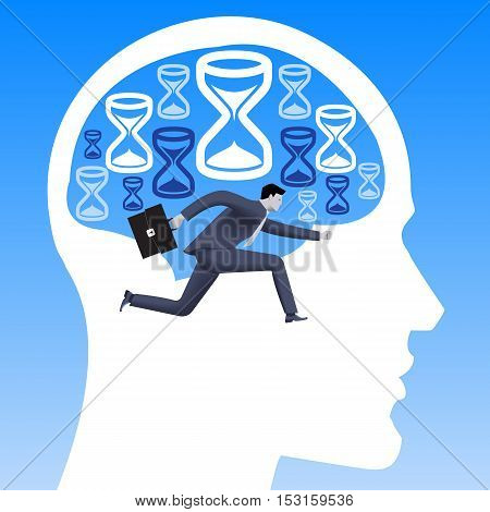 Race against time business concept. Confident businessman in business suit racing against time inside human brain filled with hourglasses. Vector illustration.