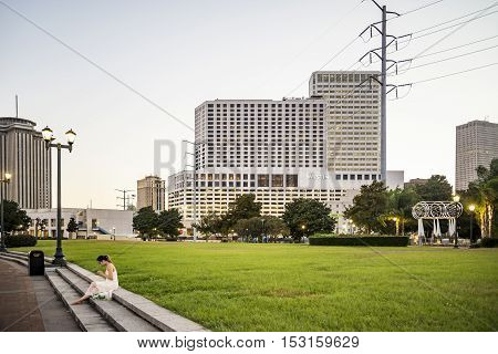 NEW ORLEANS LA - OCTOBER 17: The waterfront buildings of New Orleans city centre overlooking the Mississippi River ON October 17 2016 in New Orleans LA