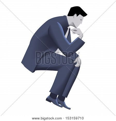 Pensive businessman business template. Pensive businessman in business suit with case sitting and thinking isolated on white background. Vector illustration. Background template part of design.