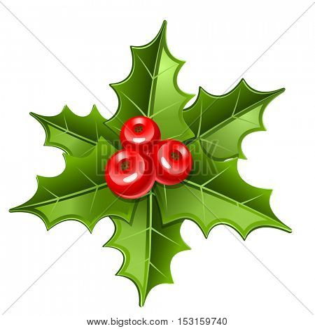 christmas mistletoe icon isolated on white background
