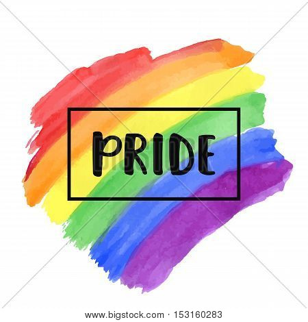 Gay Pride lettering on a watercolor rainbow spectrum flag, homosexuality emblem isolated on white. LGBT rights concept. Modern parades poster, placard, invitation card design