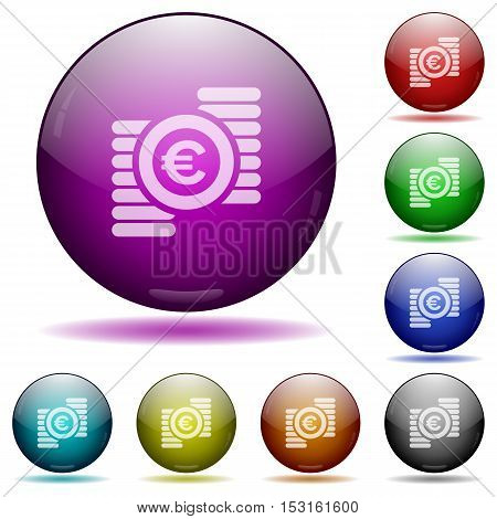 Euro coins color glass sphere buttons with sadows.