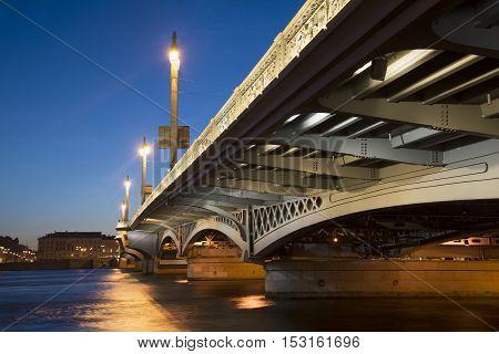 Blagoveshchensky bridge in white night. Saint Petersburg, Russia