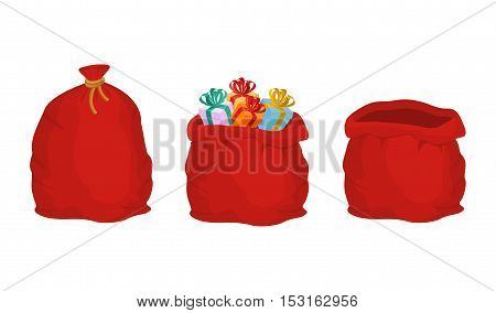 Red Bag Santa Claus Set. Large Sack Holiday For Gifts. Big Bagful For New Year And Christmas