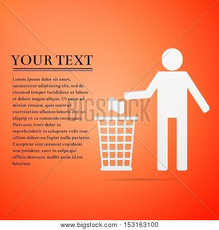 Recycle icon, man throwing trash into dustbin flat on orange background. Vector Illustration