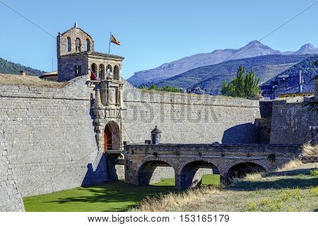Detail of the entrance of the Jaca Ciudadela a fortification from the XVI century in the Spanish Pyrenees.