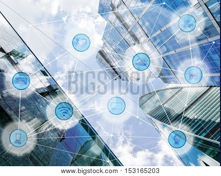 modern city and wireless communication network, IoT Internet of Things and ICT Information Communication Technology concept