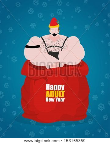 Bdsm Sex Slave In Red Bag Of Santa Claus. Happy Adult New Year. Adult Gift For Host. Sadist And Maso