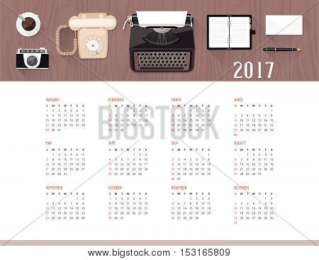 Vintage office and desktop top view 2017 wall calendar