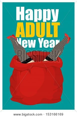 Stripper In Red Sack Of Santa Claus. Adult New Year. Prostitute As Gift. Congratulations For Men. Wo