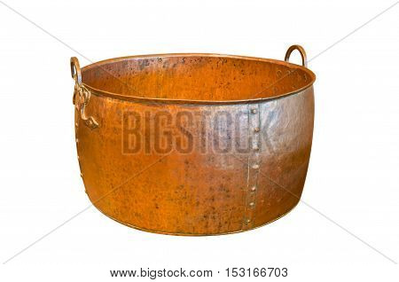 Ancient weathered copper basin isolated on white background with clipping path