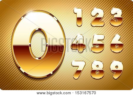 Set of 3d gold metal vector numbers, from 1 to 0. Eps 10.