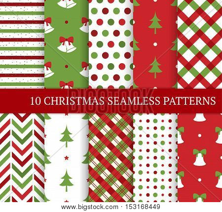 Ten Christmas different seamless patterns. Xmas endless texture for wallpaper web page background wrapping paper and etc. Retro style. Bells christmas trees polka dots and argyle.