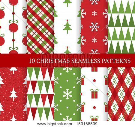 Ten Christmas different seamless patterns. Endless texture for wallpaper web page background wrapping paper and etc. Retro style. Christmas tree ball snowflakes and triangles.