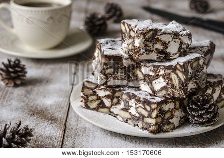 Dessert Of Chocolate Biscuit And Marshmallow From Nigella Lawson