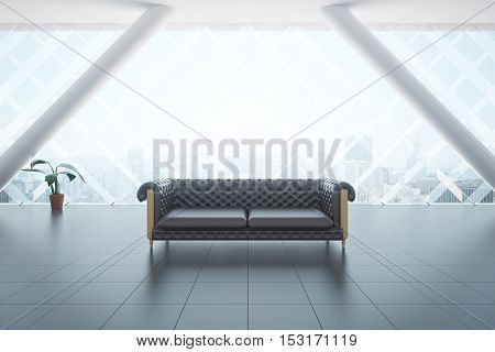 Front view of modern interior with brown leather couch tile floor plant and city view. 3D Rendering