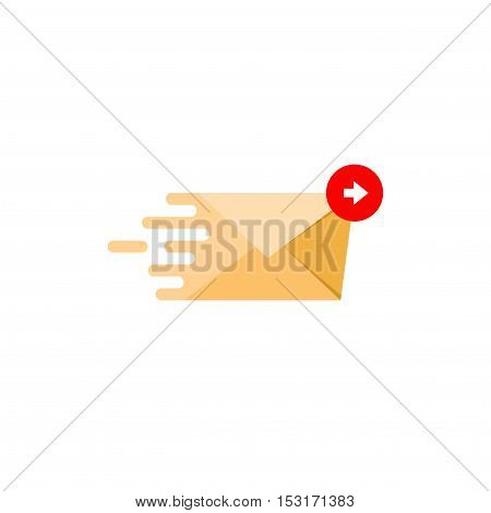 Mail message abstract flat style flying icon