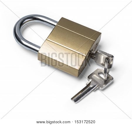 Padlock and key isolated on white background with clipping path poster