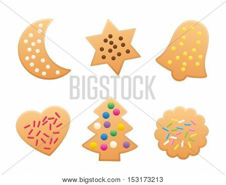 Christmas cookies variation - isolated vector illustration on white background.