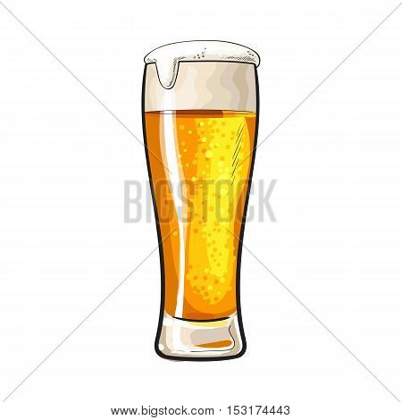 High glass of cold beer with foam and bubbles, sketch style vector illustration isolated on white background. Hand drawn frosty glass of ice cold golden beer, lager, ale, Oktoberfest symbol