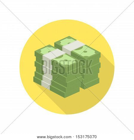 Big stacked pile of cash vector icon. Hundreds of dollars. Heap of cash, American dollars, pack, parcel, batch, flock, package modern design isolated on white background in flat style.