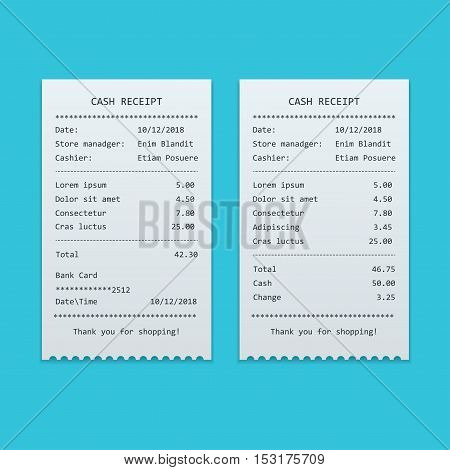 Set Paper check and financial check isolated. Sales printed receipt, shopping paper bill atm vector mock up. Bill atm template. Vector illustration.