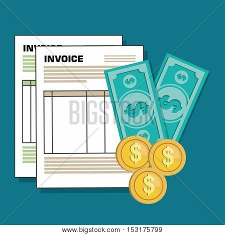 invoice document flat isolated icon vector illustration design