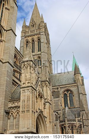 Exterior of Truro Cathedral spire in Cornwall