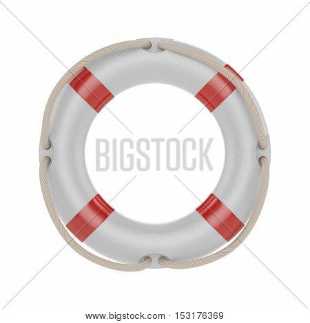 3d illustration of lifesaver lifebelt lifebuoy with rope isolated on white background