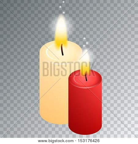 Vector candle with fire animation on transparent background. Flame animated effect illustration.