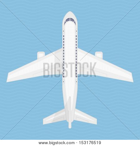 Airplane in the air vector illustration. Aircraft view from above. Plane from top view. Concept of air travel, transportation of goods.