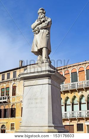 monument Niccolo Tommaseo was italian linguist, journalist and essayist, Campo Santo Stefano in Venice