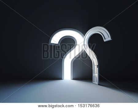 Answers to the question door shape. The opened doors in form of question sign in the dark room. 3d rendering illustration