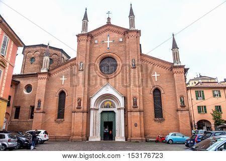 Bologna October 23 2016: facade of the San Martino church in Bologna