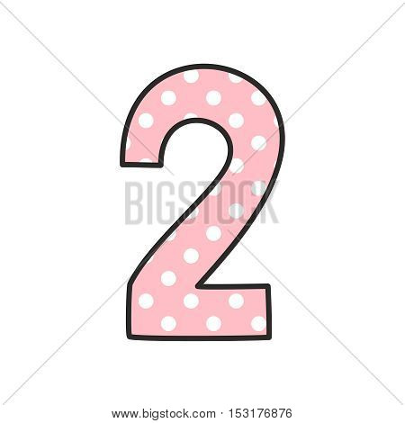 Number 2 with white polka dots on pastel pink, vector illustration isolated on white background