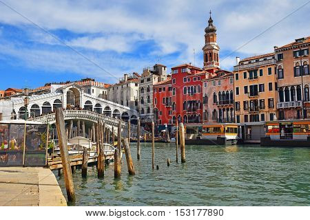 urban landscape of old Venice with Rialto Bridge at the Grand Canal of Venice in Italy