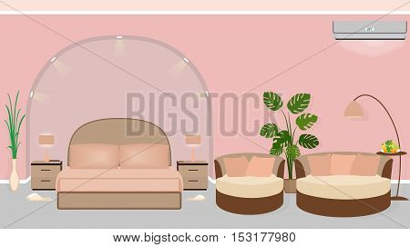 Modern hotel room interior with houseplants sofa and backlight. Vector illustration in flat style
