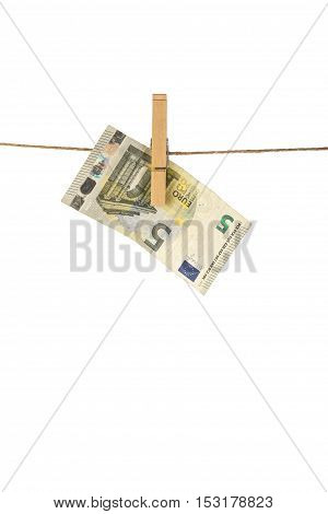 5 Euro Banknote Hanging On Clothesline On White Background.