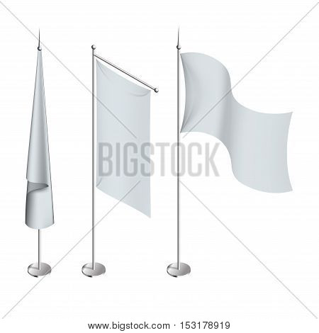Various white flags and banners pictograms collection with hoisted and half-mast lowered positions abstract illustration.