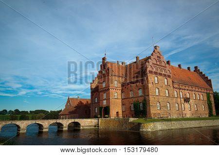 Beautiful Gisselfeld park palace and cloister, Denmark