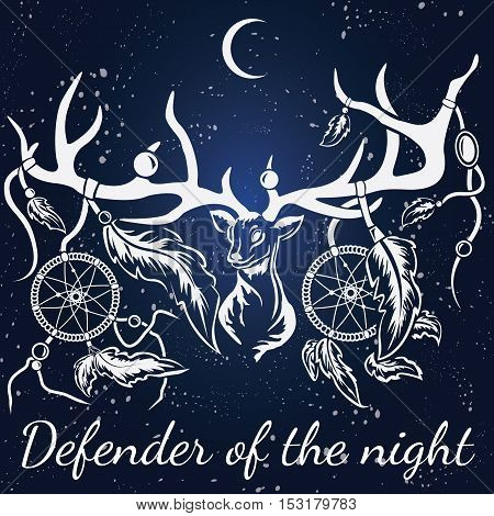 Vector deer with white silhouette with dream catcher. Format eps10.