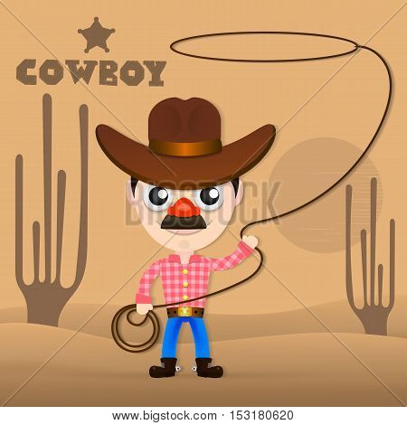 Illustration of a cowboy with lasso. Cheerful cowboy twists rope abstract background. Flat style vector illustration
