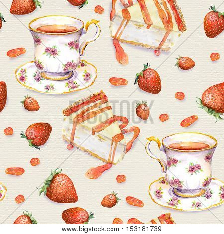 Hand painted seamless background with cheese cake, tea cup and strawberries. Watercolor