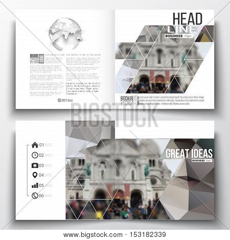 Set of annual report business templates for brochure, magazine, flyer or booklet. Polygonal background, blurred image, view of cathedral Sakre-Ker, Paris cityscape, modern triangular vector texture